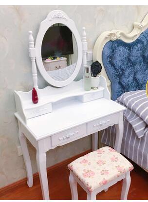 Столик для макияжа в маленькой спальне. Мини из натурального дерева Белый Сельский туалетный столик - 5