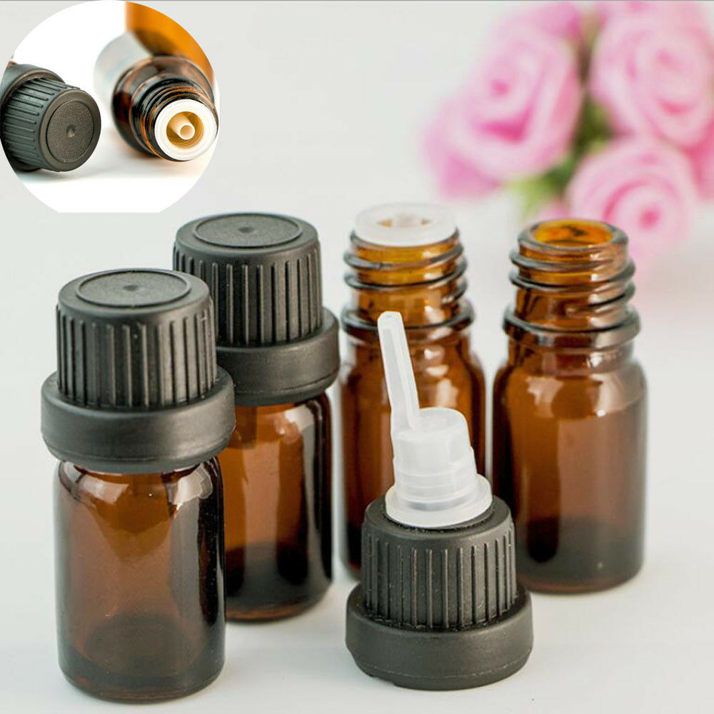 12pcs 5ml/10ml/15ml/20ml Empty Amber Brown Glass Euro Dropper Bottles Essential Oil Liquid Aromatherapy Pipette Vials Containers