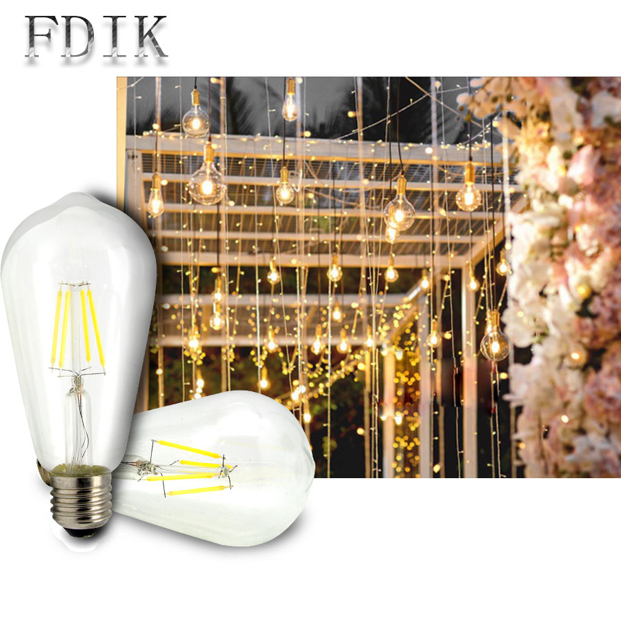 E27 LED Filament Bulb ST64 2W 4W 6W 8W Retro LED Edison Bulb Candle Lamp 110V 220V Home decoration Lighting Warm Nature white