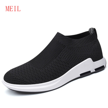 Fly Woven mens Casual Shoes Sneakers Breathable Men Sock Slip On Sneaker 2019 Summer Outdoor Fashion Black Sportshoes