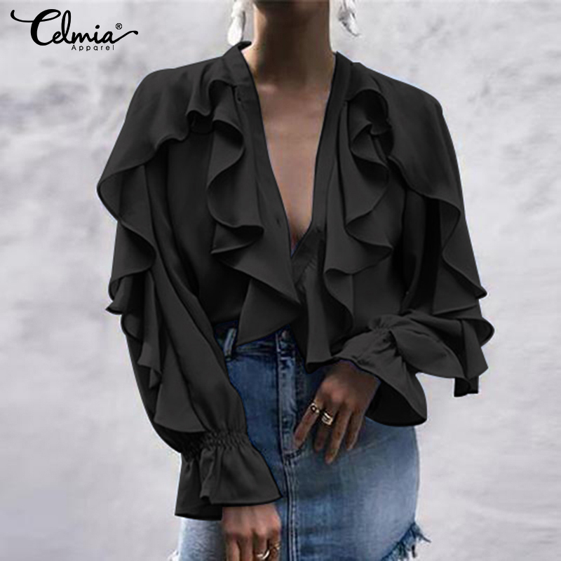 Women's Blouse Shirt Celmia Sexy V Neck Long Sleeve Female Casual Ruffle Shirt Button Solid Street Blusas Plus Size OL Work Tops