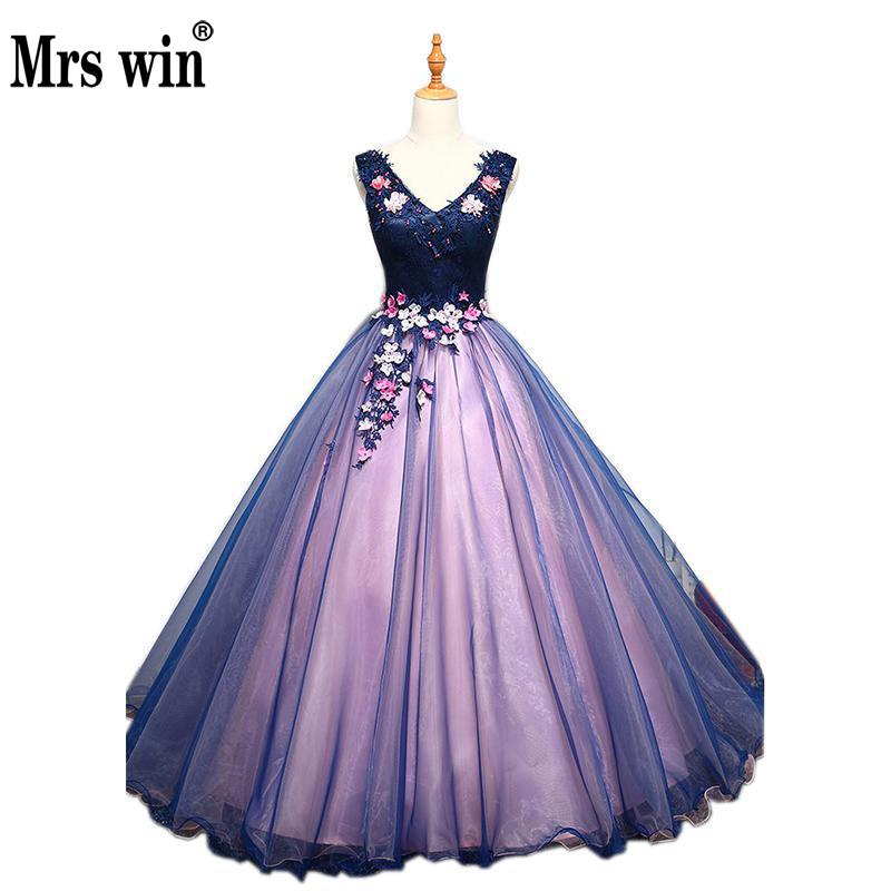 Quinceanera Dresses Mrs Win The Prom Sexy V-neck Dress Luxuey Lace Floor-length Party Dress Fashion Formal Dresses Plus Szie