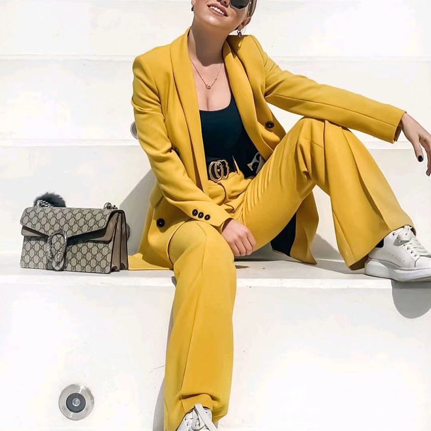 Women yellow   wide     leg     pants   pockets zipper fly design office wear full length trousers female 2019 casual long pantalones