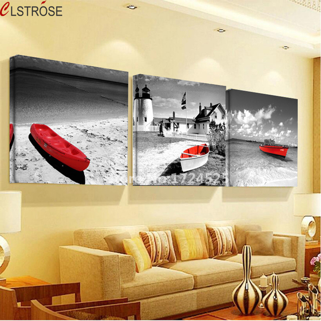 CLSTROSE Vintage Black White Scenery Canvas Painting Red Boat Wall ...