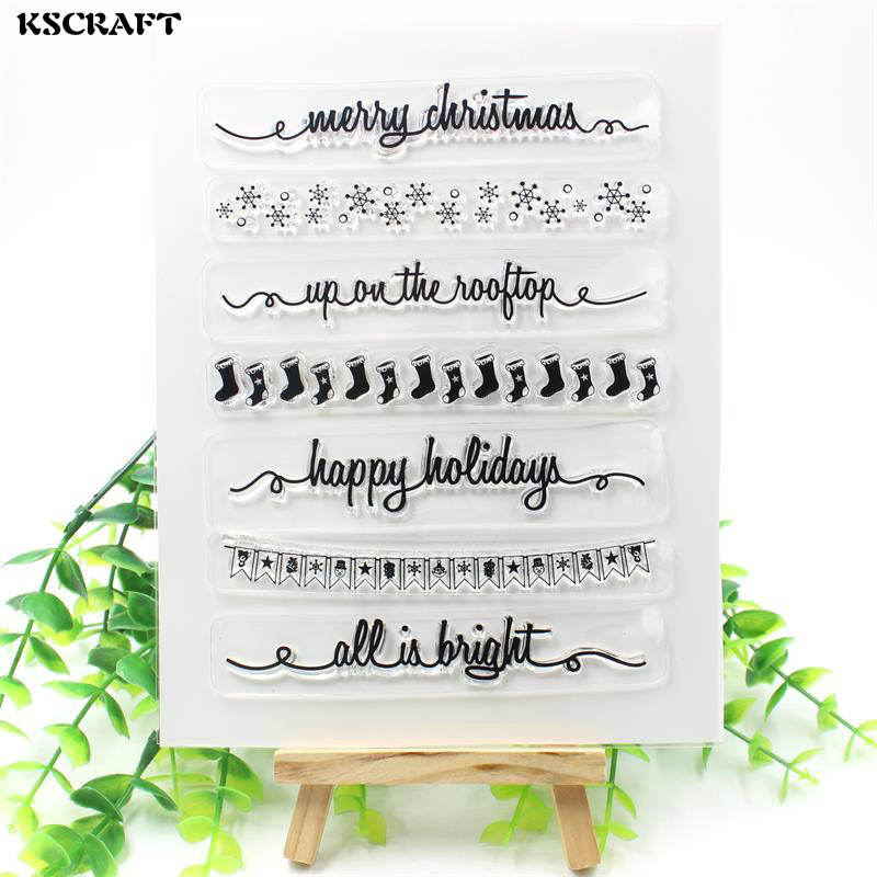 KSCRAFT Merry Christmas Transparent Clear Silicone Stamps for DIY Scrapbooking/Card Making/Kids Fun Decoration Supplies Flower tools transparent clear silicone stamps for diy scrapbooking card making kids christmas fun decoration supplies
