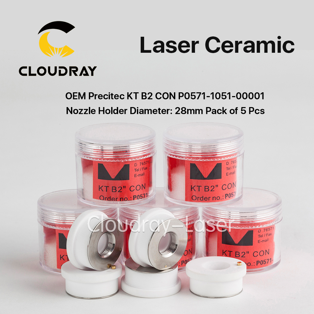 Cloudray Ceramic Parts Nozzle Holder OEM Pack of 5 Pcs P0571-1051-00001 For Precitec Laser Cutting Head 28mm/24.5mm precitec laser ceramic p0571 1051 00001 kt b2 con ceramic parts nozzle holder for ermaksan co2 fiber laser cutting machines