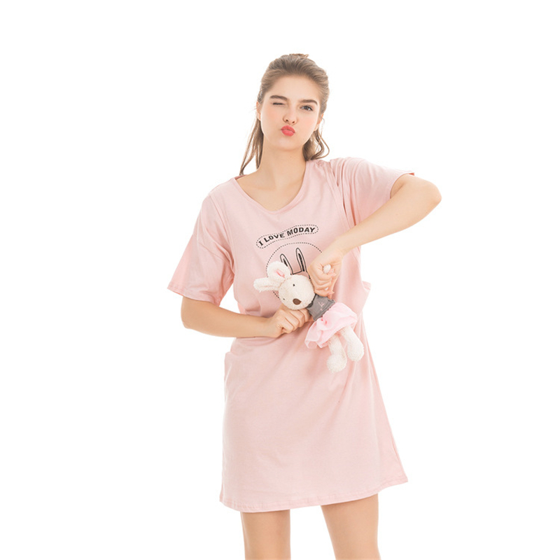 Summer Cotton Nursing Mother Feeding Dress Women Short Sleeve Cartoon Print Sleeping Dress Maternity Sweet Nightgown AA11381 chic round neck short sleeve figure print fringed dress for women