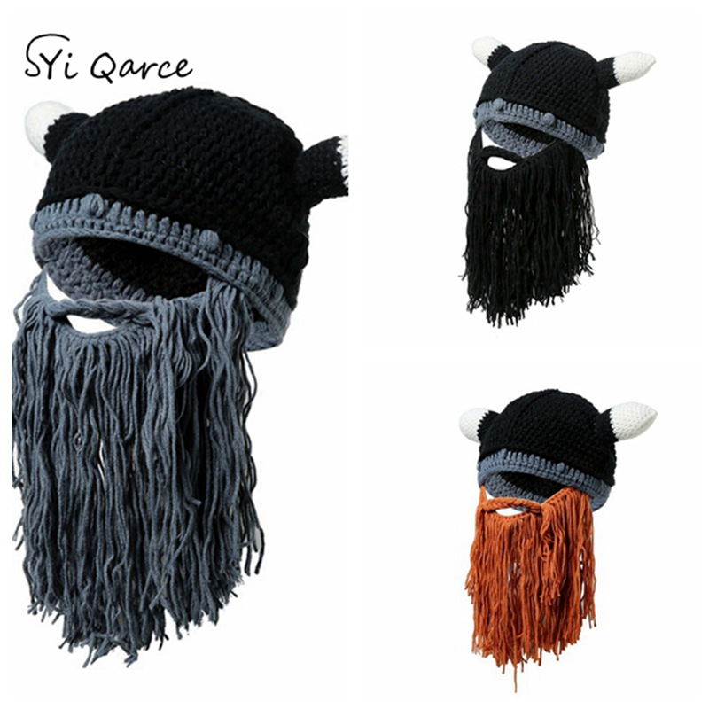 SYi Qarce High Quality Mr. Crazy Barbarian Beard Horn Hats Men's Winter Hat Balaclava Hat   Skullies     Beanies   for Men's Hat NM605-7