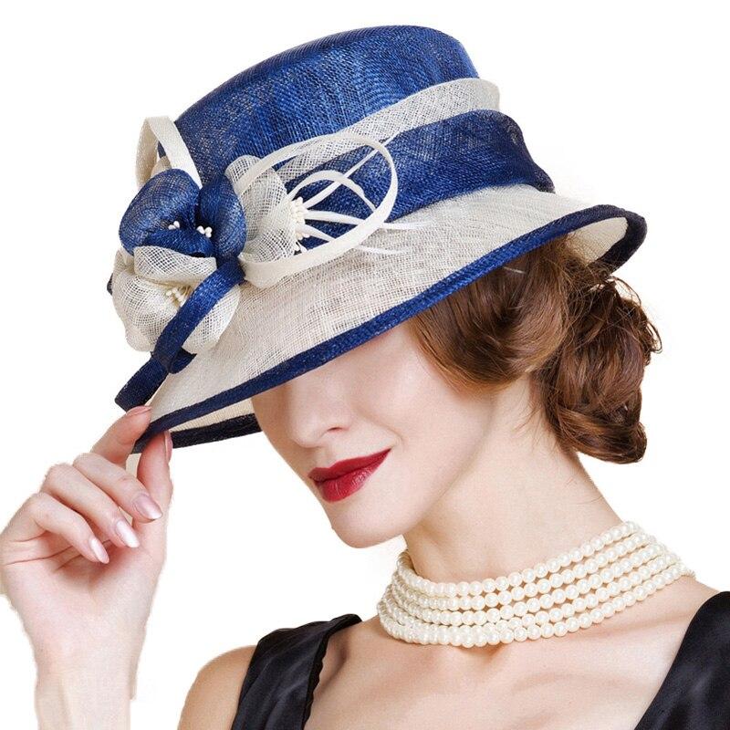 Sombrero de boda de Sinamay británico para mujer Iglesia Flor de ala ancha azul blanco Lino Fedora elegante 2018 mujeres Kentucky Derby H - 5