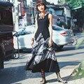Апории. Как Женщины Краткая Летний Flroal Печати Лоскутная Танк Платье Национальной Тенденция Тонкий Трикотаж Повседневная Рукавов Макси Платье