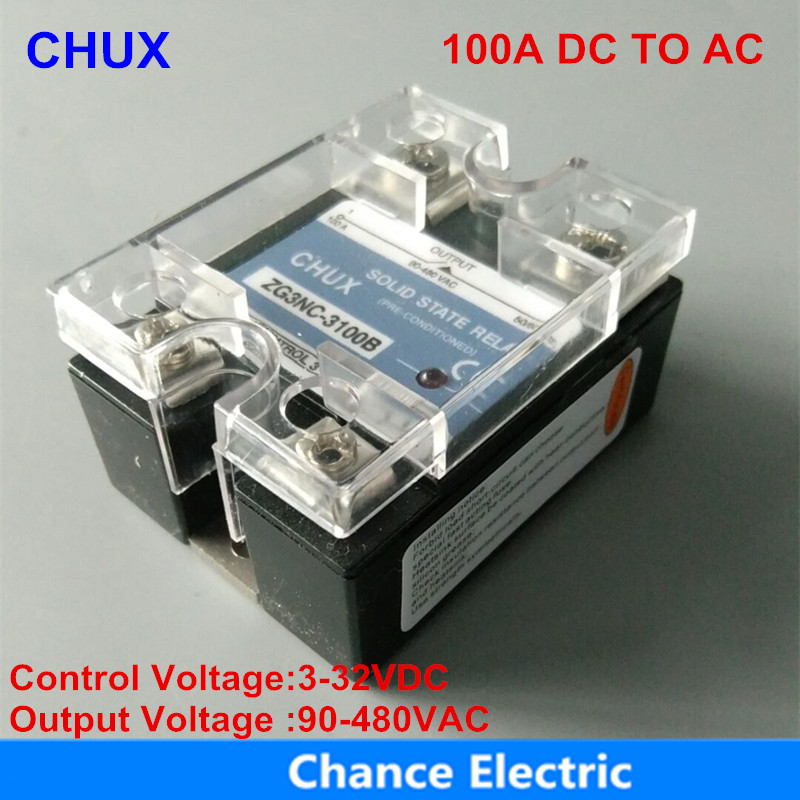 Solid State electric Relay 100A black shell 3-32VDC 90-480VAC popular sales model Single-phase  SSR 100DA normally open single phase solid state relay ssr mgr 1 d48120 120a control dc ac 24 480v