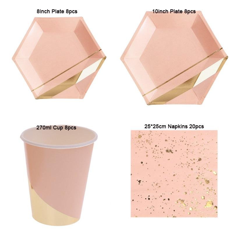 44pcs Green Pink Gold Foil Paper Plates Napkins Cups Set