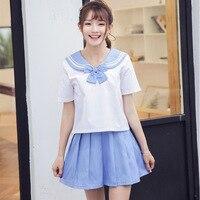 Summer School Uniforms Girl Student Sailor Class Uniform JK Navy Sailor Uniform Short Sleeved Suit 2pcs Ailor Suit D 0609
