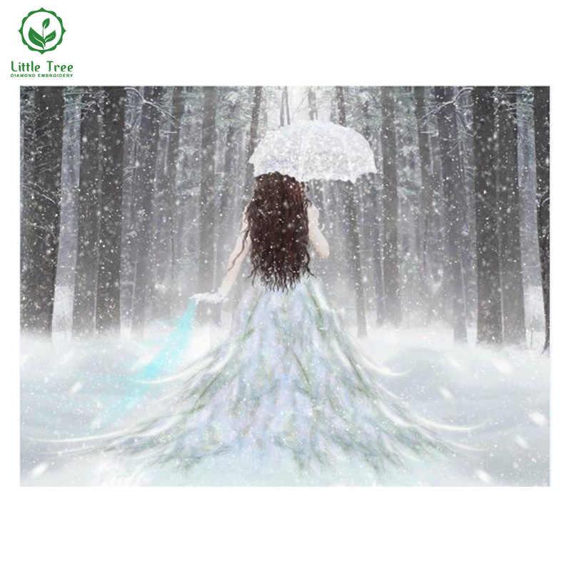 Nuevo bricolaje 5D diamante pintura la lluvia chica paraguas estheticism gota de lluvia decoración del hogar mosaico bordado artesanía
