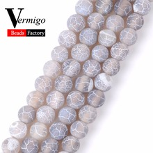 Free Shipping Gray Frost Cracked Agates Beads Natural Stone Round Loose For Jewelry Making 4mm-12mm Diy Bracelet 15Strand