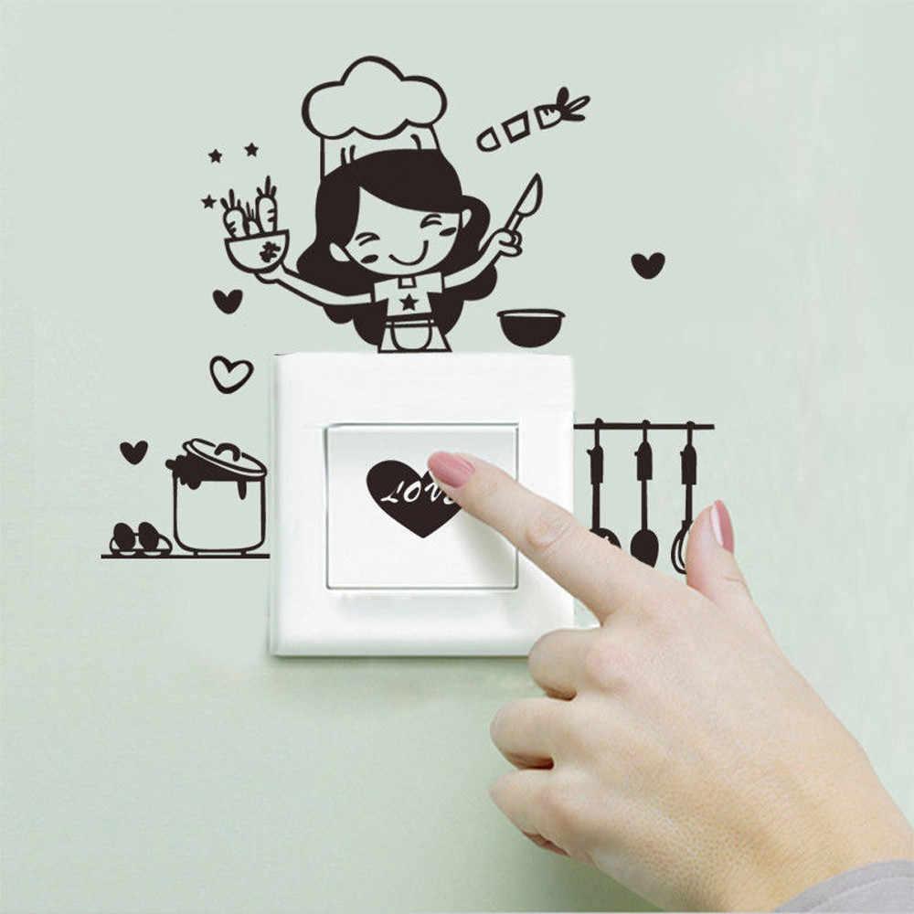 Trang trí nội thất Bảng Chuyển Đổi Tường Nhãn Dán Bếp Ánh Sáng Chuyển Sticker Dễ Thương Nấu Vinyl Tường Decal Trang Trí Nội Thất tháng tám