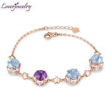 Lovely New Citrine Topaz Amethyst Bracelet Real 14K Rose Gold  Bangle Fine Jewelry  Wife Daughter Birthday Gift 1