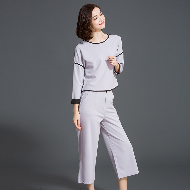 2016 Real New Women's Fashion In The Spring Of Two Sets Of Temperament T-shirt Shirt Loose Seven Sub Pants Wide Leg Suit Women