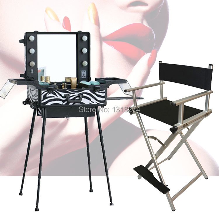 Delicieux High Quality Lighting Makeup Case With Portable Chair, Makeup Station With  Lights, Trolley, Mirror, Legs And Foldable Chair In Cosmetic Bags U0026 Cases  From ...