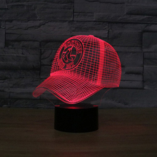 NEW MLB Boston Red Sox Team Baseball Cap LED 3D Illusion Night Light Colorful American Baseball Hat Visual USB5V Decor Bulb Lamp