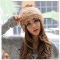 Corea del color doble sombrero de piel del casquillo del sombrero del Angora rabbit hair sombrero niños sombrero caliente del invierno marea para mujer