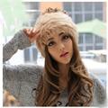 Coreano duplo cor de pele chapéu chapéu cap angorá cabelo chapéu coelho crianças chapéu morno feminina inverno maré