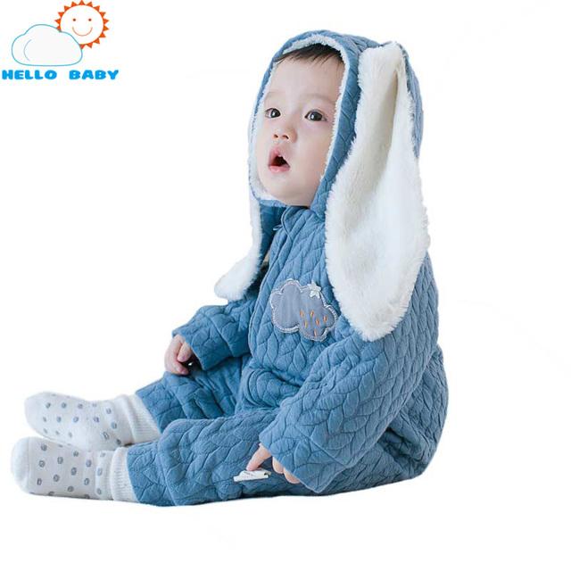 Nueva llegada de los mamelucos del bebé del mono largo del oído paño niñas mameluco conveniente cremallera estilo nueva infant toddler mano de obra tradicional