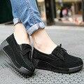 2017 Весна женщин клинья туфли на платформе обувь ручной сшиты замши повседневная обувь slip on квартиры кистями лианы 1319