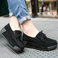 2017 Spring women wedges shoes platform shoes hand-sewn leather suede casual shoes slip on flats tassels creepers 1319
