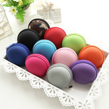 50PCS / LOT Coin Bag Mini Round Candy Color Wallet Card Holders Casual Earphone Wholesale Random Colors