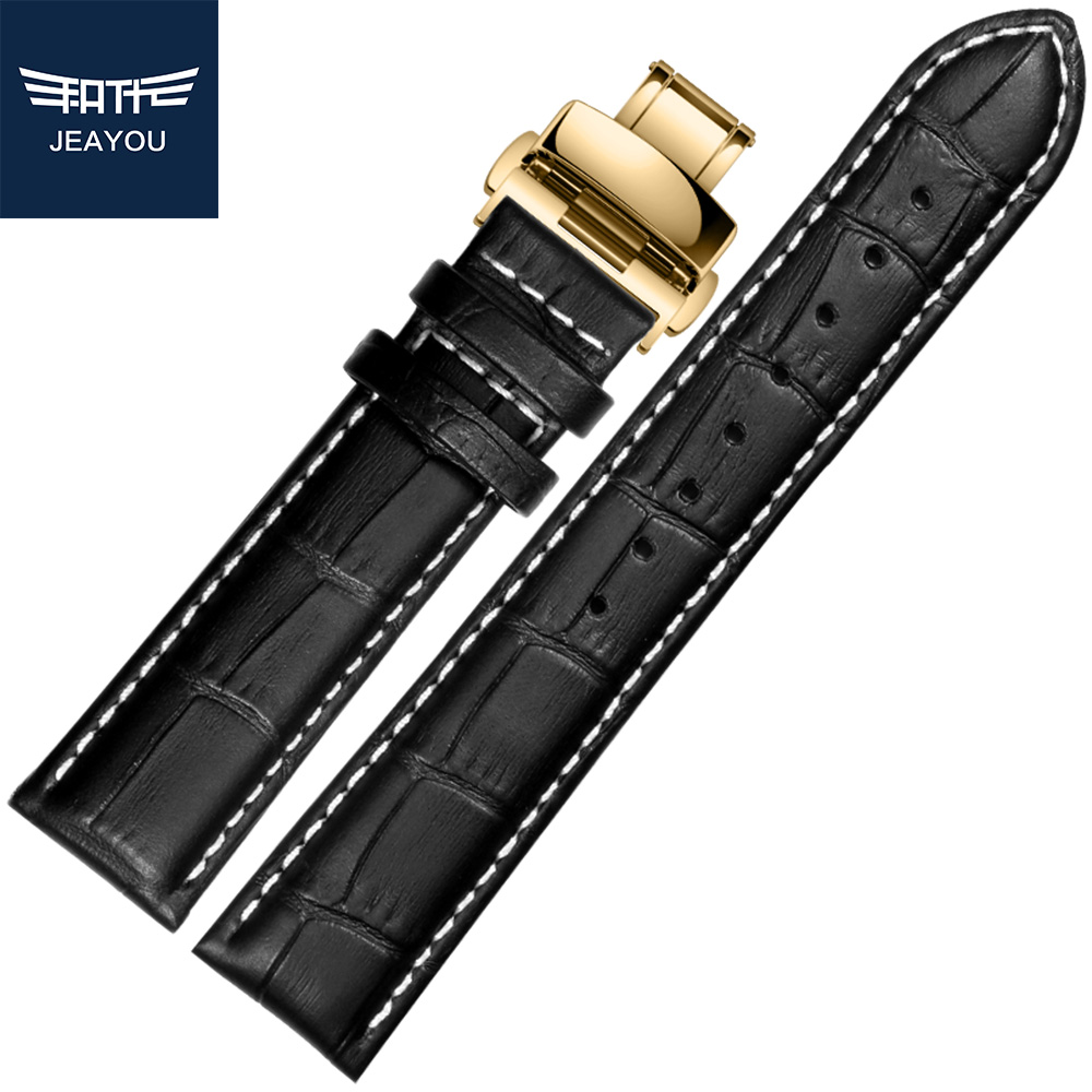 JEAYOU Men High Quality Genuine Leather Watchband For Tissot Longines Mido Black Brown With Gold Buckle