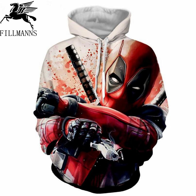Deadpool Printed Hoodies Men 3d Hoodies Brand Sweatshirts Boy Jackets Pullover Fashion Tracksuits Animal Streetwear Out Coat