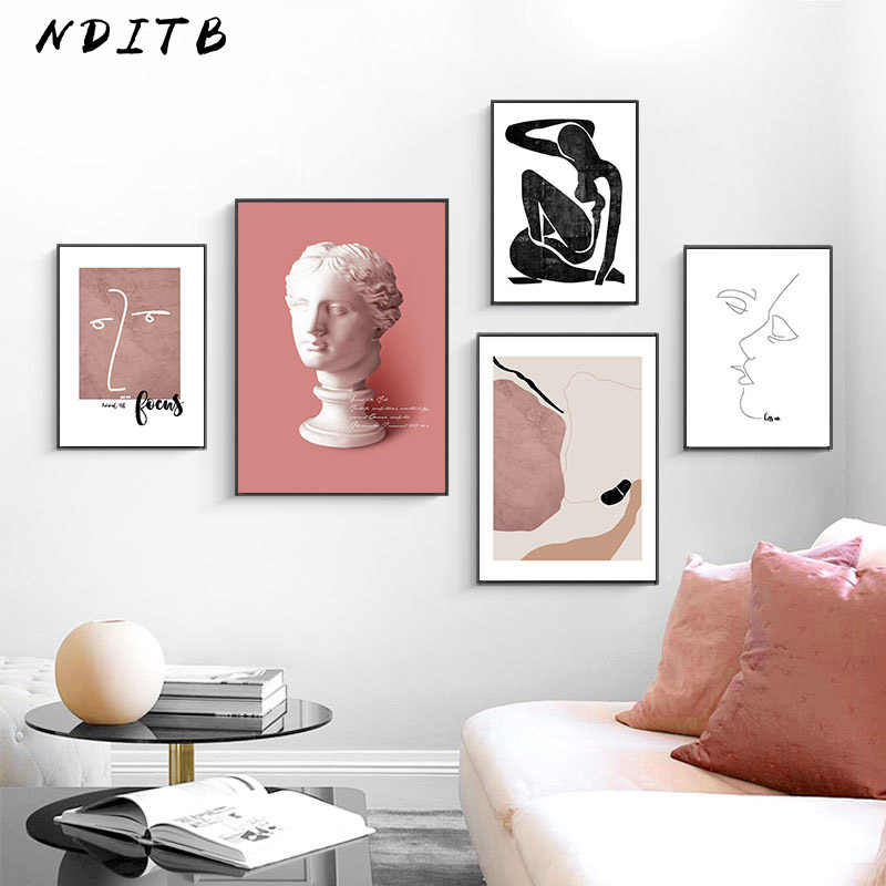 Scandinavian Vintage Canvas Poster Nordic Wall Art Print Abstract Painting Decorative Picture Modern Living Room Decoration