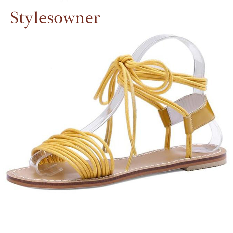 Stylesowner cross tied ankle strap gladiator sandals women open toe flat heel causal sandals holidady beach leisure style shoes