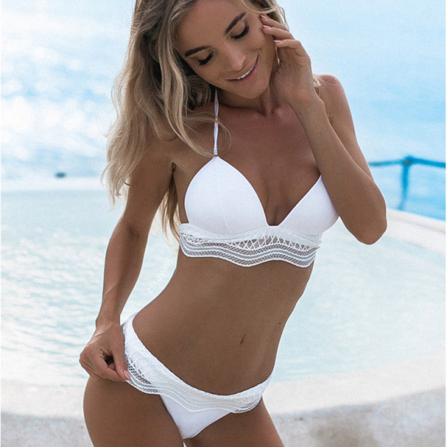 2f2d9f1bff156 Bikini Two-Piece Swimsuit 2018 New White Lace Bikinis Split Swimwear Low  Waist Sexy Skirt Bathing Suit Women Swimming Wearing