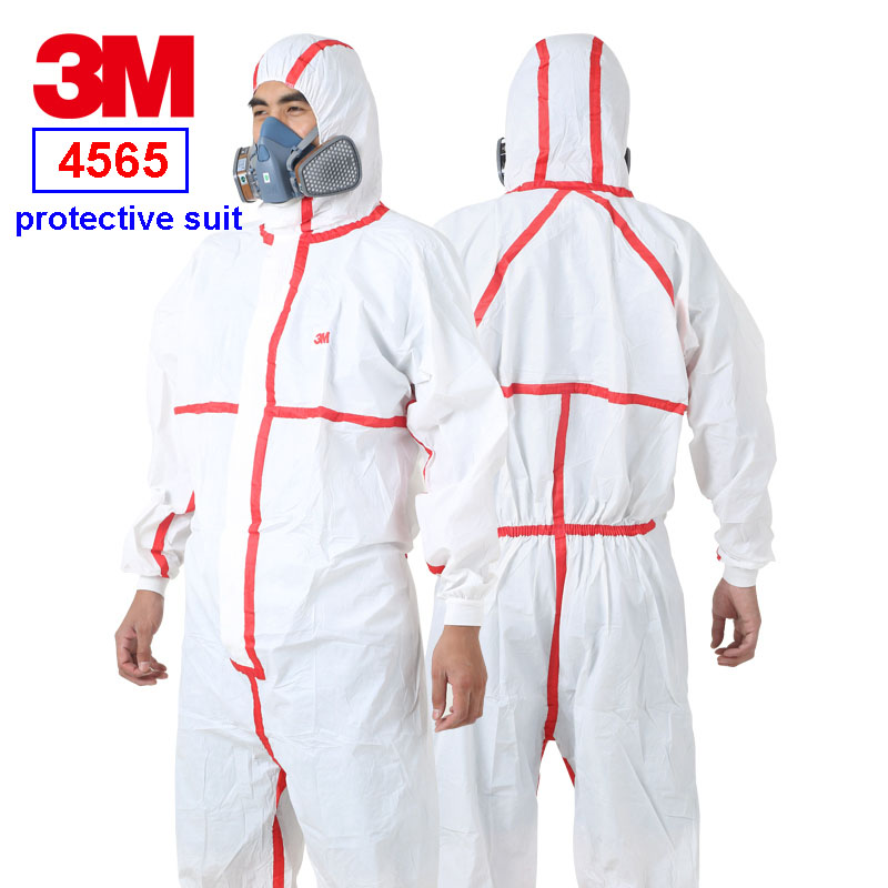 3m 4565 Siamese Protective Clothing Red Strip Hooded Protective Suit Epidemic Prevention Pesticide Spray Paint Safety Clothes