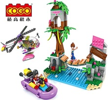 Cogo14521 the Dream girl Playing bridge Model Building blocks Minifigures action figures baby Toys for children