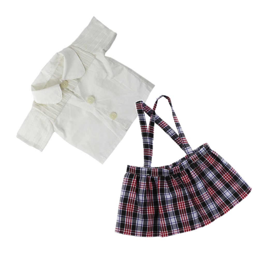 18 дюймов Удобная белая футболка сарафан в клетку юбка наряд для куклы платье аксессуары Подходит для 18-дюймовых девочек кукла