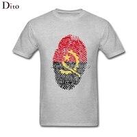 Angola Flag Fingerprint T Shirt For Men Tailored Custom Short Sleeve Valentine S Plus Size Couple