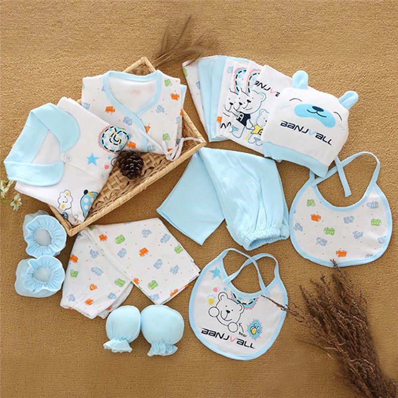 Newborn Baby Clothes Set Baby Boy Girl Spring Summer Clothing 100% Cotton Cartoon Pattern Babys Clothes Sets Gift Box
