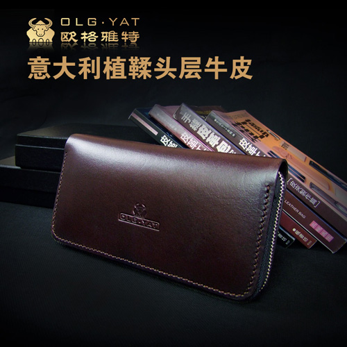 OLG.YAT Italian Vegetable tanned leather wallet handmade purse mens bag women handbag long zipper cowhide men wallets retro pure