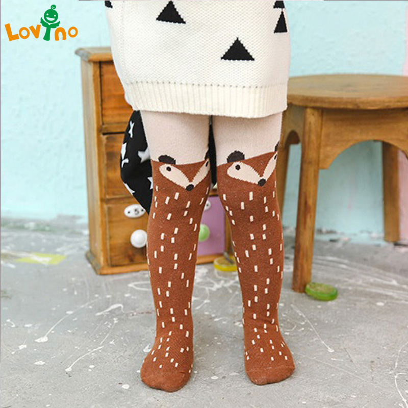 все цены на 2016 New Autumn Cartoon Fox Baby Girl Tights Cotton Cute Children Stocking Baby Pantyhose For Kid 0-5Years best selling онлайн