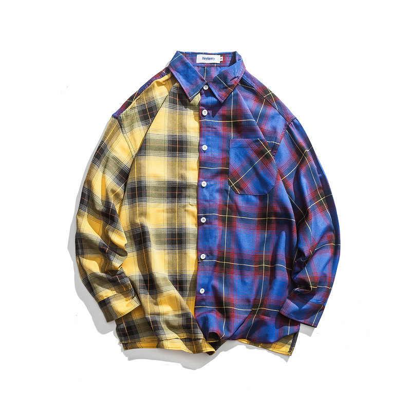 Ulzzang клетчатая рубашка мужская Harajuku стиль свободная клетчатая рубашка с длинными рукавами в японском стиле Повседневная стеганая куртка