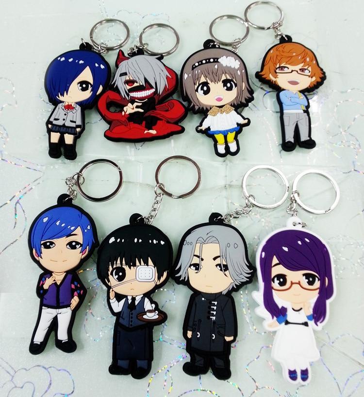 Stock sale Japanese hot anime Tokyo Ghoul Kaneki Ken Touka Kirishima Shuu Tsukiyama PVC Figure Keychains 8pcs/set Free shipping