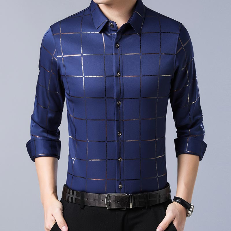 2020 Brand Casual Spring Luxury Plaid Long Sleeve Slim Fit Men Shirt Streetwear Social Dress Shirts Mens Fashions Jersey 2309 7