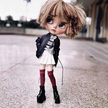 1 пара кукольных туфель Blyth, крутые черные, белые короткие сапоги на платформе, обувь для кукол, аксессуары для куклы Licca, Azone, OB24, Blyth, 1/6