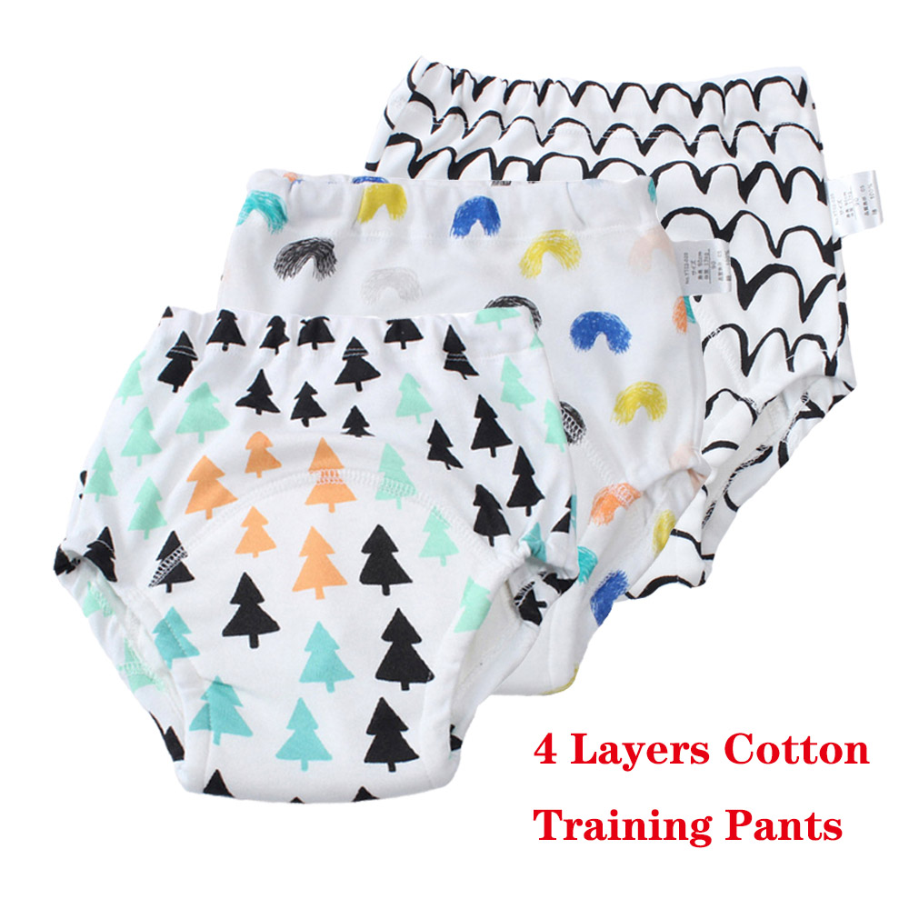 3 Pack Baby Pants Infant Toddler Waterproof Training Pants Cotton Changing Nappy Cloth Diaper Panties Reusable Washable Diapers