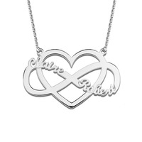 Wholesale Personalized Infinity And Heart Name Necklace White Gold Color Infinity Fashion Jewelry For Women