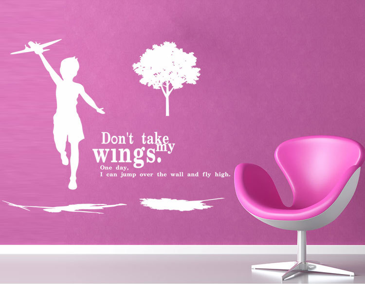 aw9026 FLY HIGHER Motivating Quote  Decoration Inspirational DIY Art Wall Sticker Mural Decals Home Removable