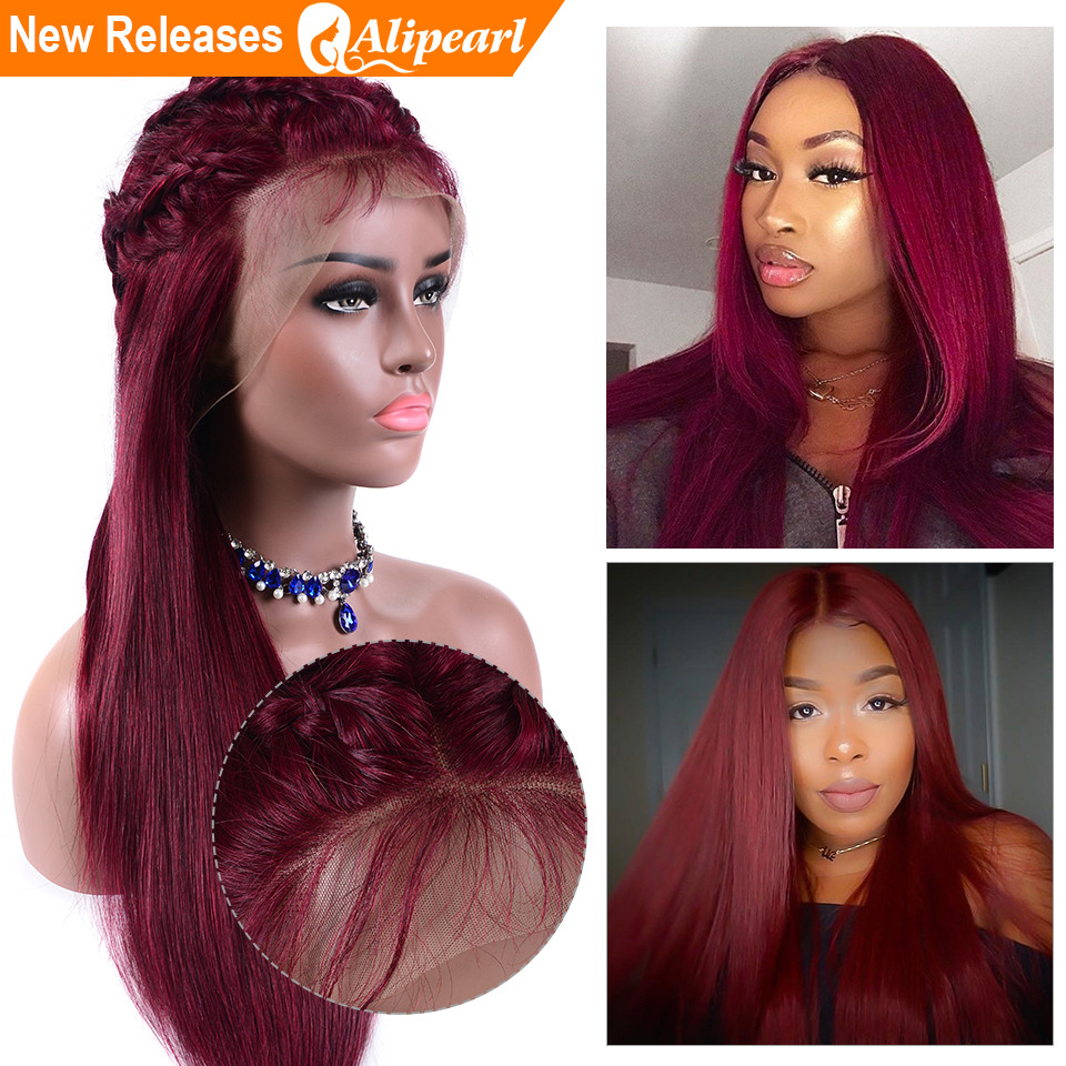 Human Hair Lace Wigs Hair Extensions & Wigs Alipearl Hair Straight Lace Front Human Hair Wigs For Black Women 99j Brazilian Virgin Hair Wigs Pre Plucked 150% 180% Density